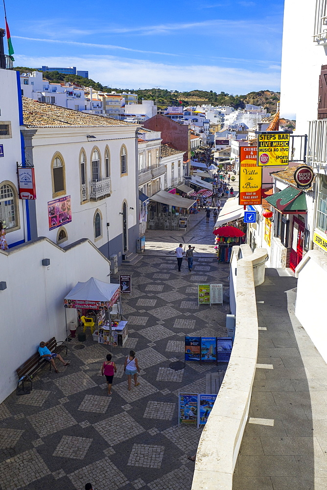 Looking from above the tunnel onto markets and stalls, Old Town, Albufeira, Algarve, Portugal, Europe - 10-415