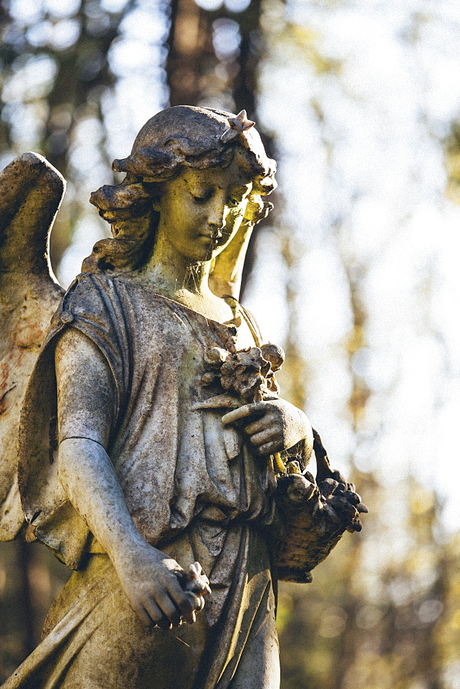 Statue of woman angel, Highgate Cemetery west, London, England, United Kingdom, Europe - 10-444