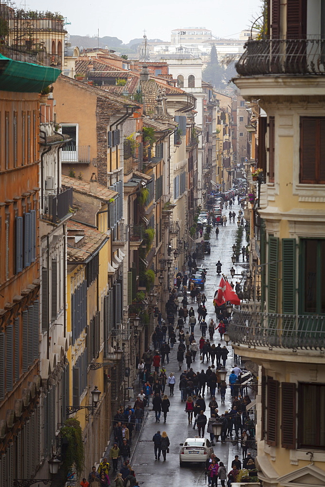 A view down a busy street, Rome, Lazio, Italy, Europe - 10-467