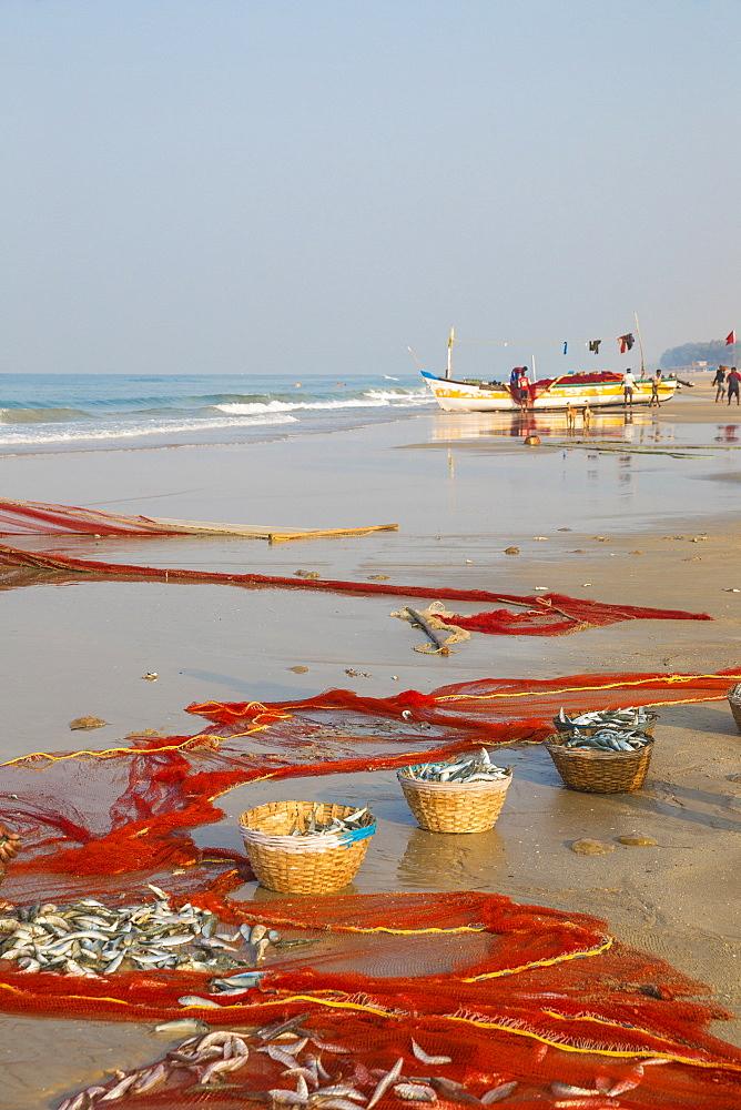 Men fishing with net, Colva Beach, Goa, India, Asia - 1104-1176