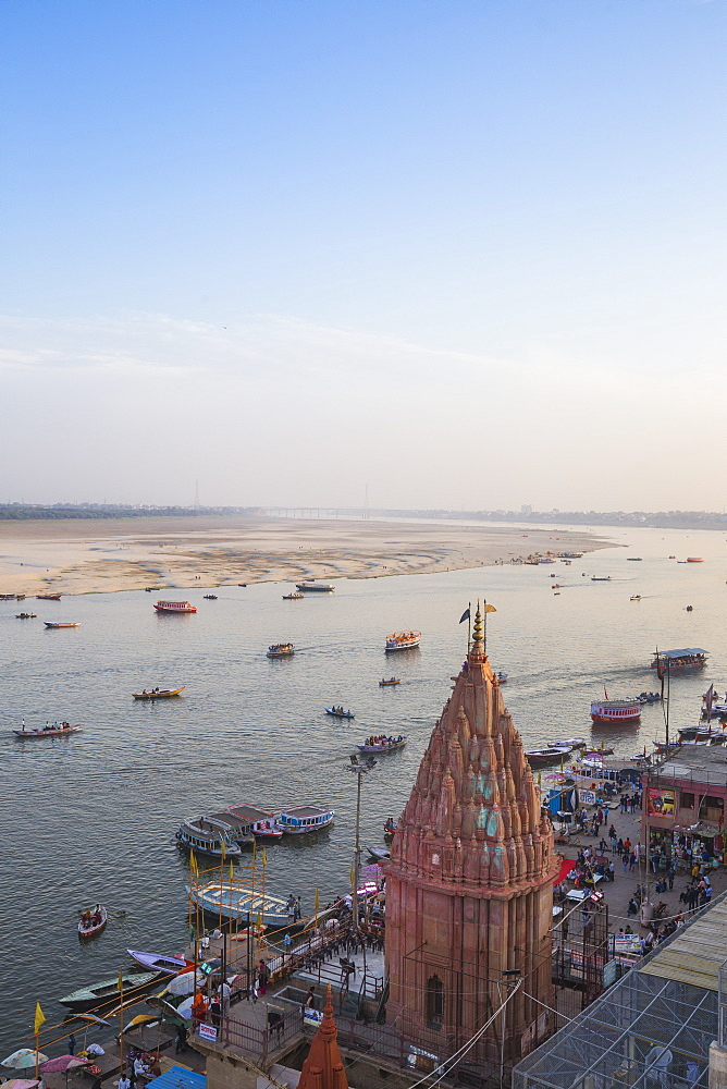 View of Varanasi Ghats and Ganges River, Varanasi, Uttar Pradesh, India, Asia