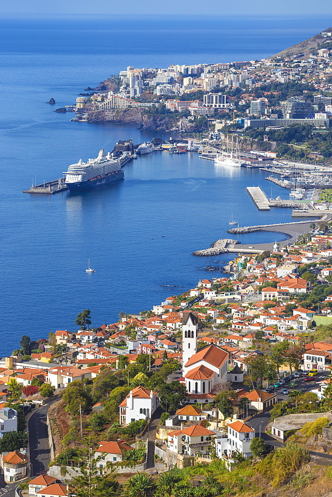 View of Sao Goncalo Church and harbour, Funchal, Madeira, Portugal, Atlantic, Europe