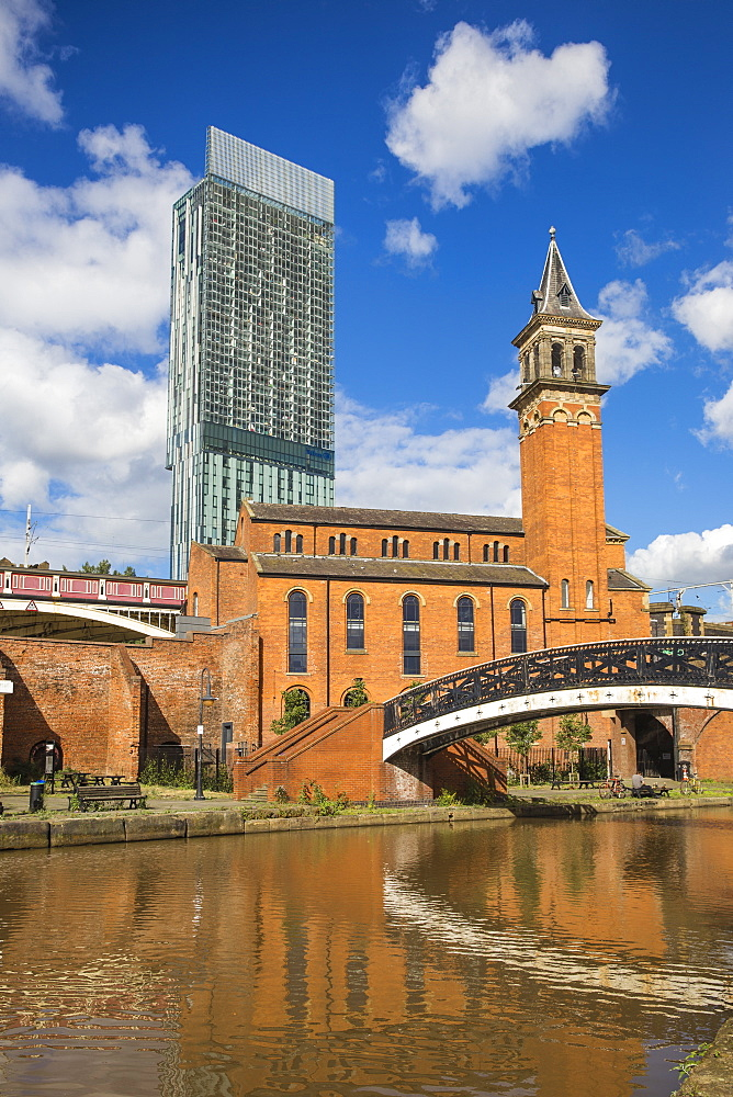 Deansgate, 1761 Bridgewater Canal and Beetham Tower (Hilton Tower), Manchester, Greater Manchester, England, United Kingdom, Europe - 1104-1823