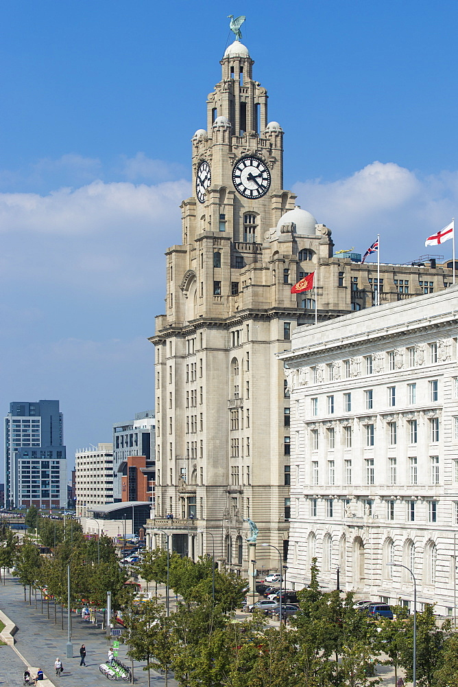 United Kingdom, England, Merseyside, Liverpool, Pier Head, View of the Three Graces Buildings