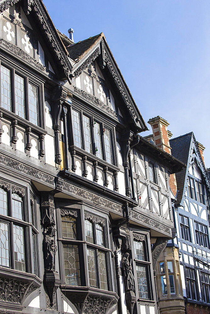 Tudor buildings on Eastgate Street, Chester, Cheshire, England, United Kingdom, Europe