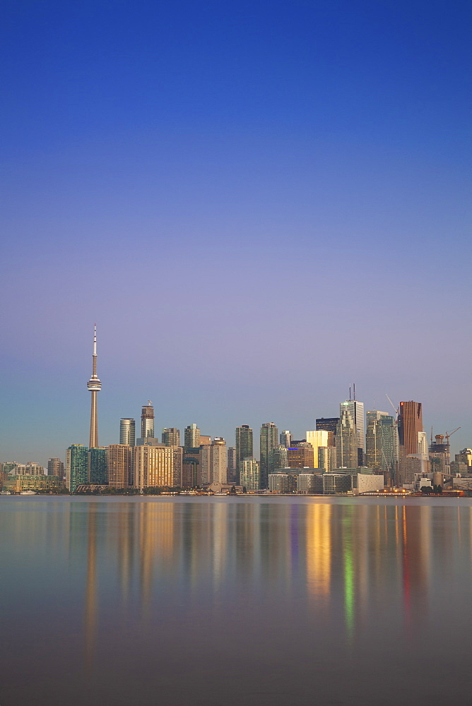 View of CN Tower and city skyline, Toronto, Ontario, Canada, North America