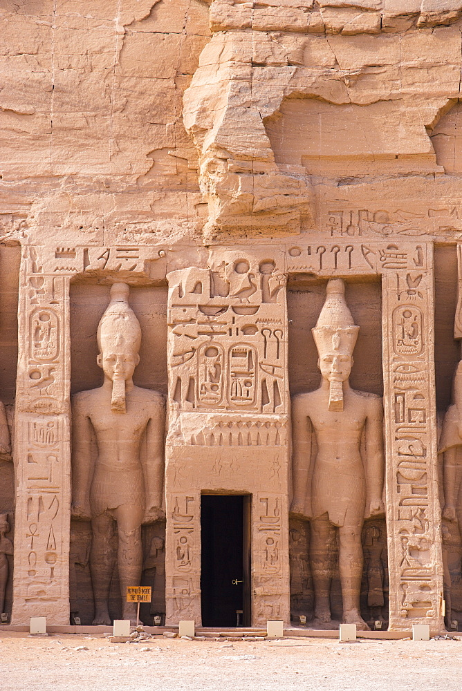 Egypt, Abu Simbel, The small temple -dedicated to Nefertari and adorned with statues of the King and Queen - 1104-802
