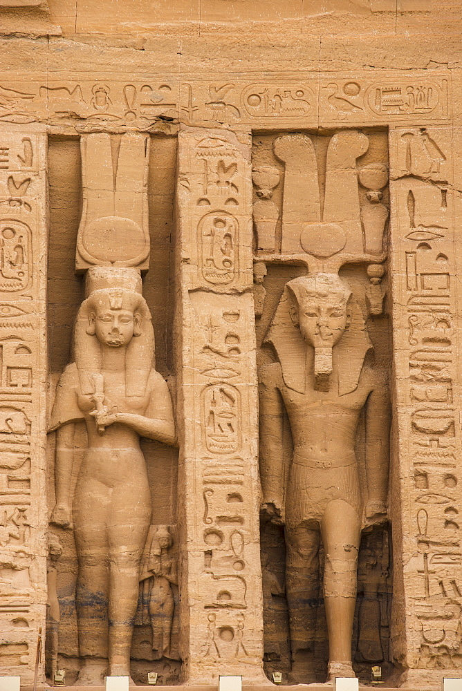 Egypt, Abu Simbel, The small temple -dedicated to Nefertari and adorned with statues of the King and Queen - 1104-805