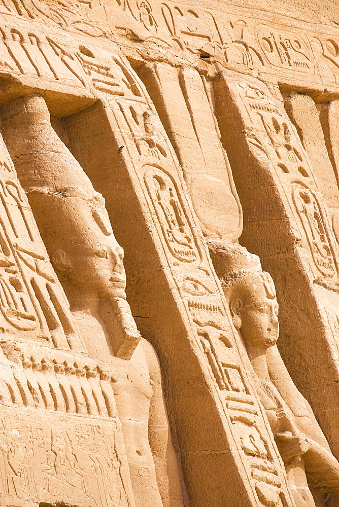 Egypt, Abu Simbel, The small temple -dedicated to Nefertari and adorned with statues of the King and Queen - 1104-806