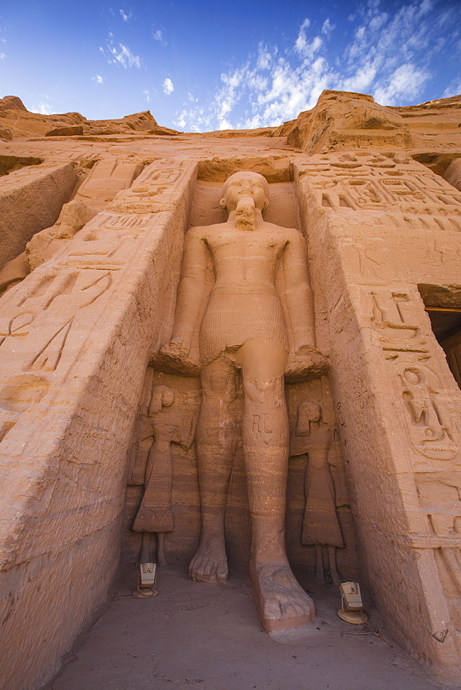 Egypt, Abu Simbel, The small temple -dedicated to Nefertari and adorned with statues of the King and Queen - 1104-810