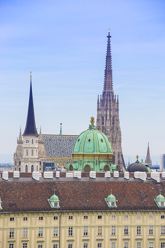View of city skyline, Vienna, Austria, Europe
