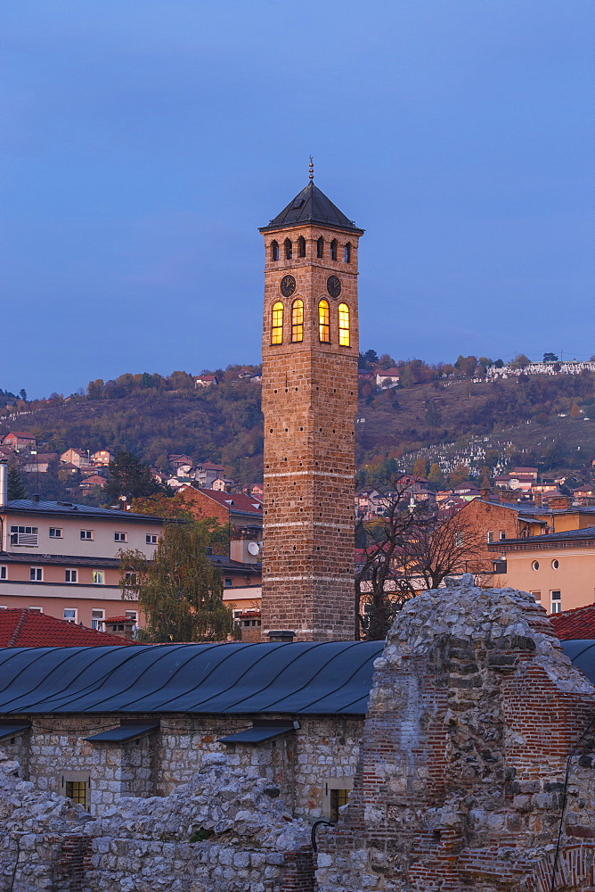 Taslihan, an ancient caravanserai and clock tower, Bascarsija (The Old Quarter), Sarajevo, Bosnia and Herzegovina, Europe - 1104-977