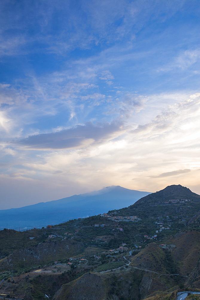 Mount Etna Volcano at sunset, UNESCO World Heritage Site, Taormina, Sicily, Italy, Europe