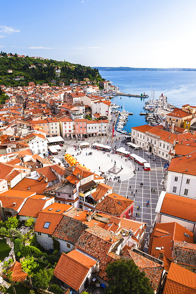 Piran and Tartini Square, seen from Church of St. George, Piran, Primorska, Slovenian Istria, Slovenia, Europe