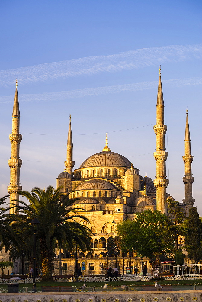 Blue Mosque (Sultan Ahmed Mosque) (Sultan Ahmet Camii), UNESCO World Heritage Site, just after sunrise, Istanbul, Turkey, Europe
