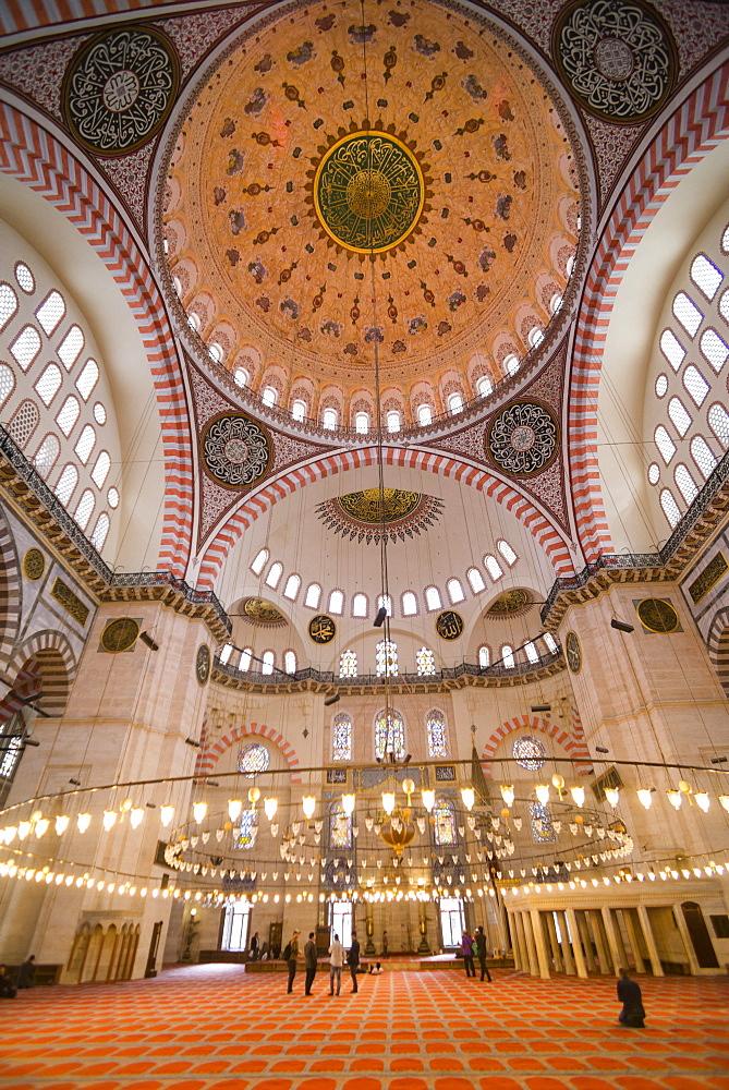Inside Suleymaniye Mosque, UNESCO World Heritage Site, Istanbul, Turkey, Europe