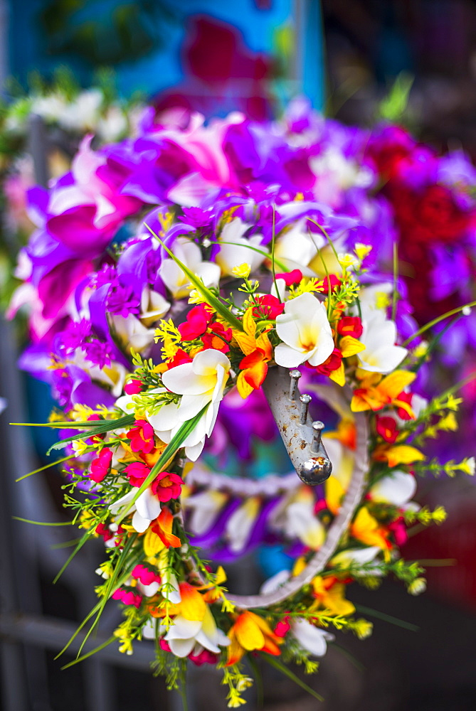 Lei (necklace of flowers) for sale at Rarotonga Saturday Market (Punanga Nui Market), Avarua Town, Cook Islands, South Pacific, Pacific