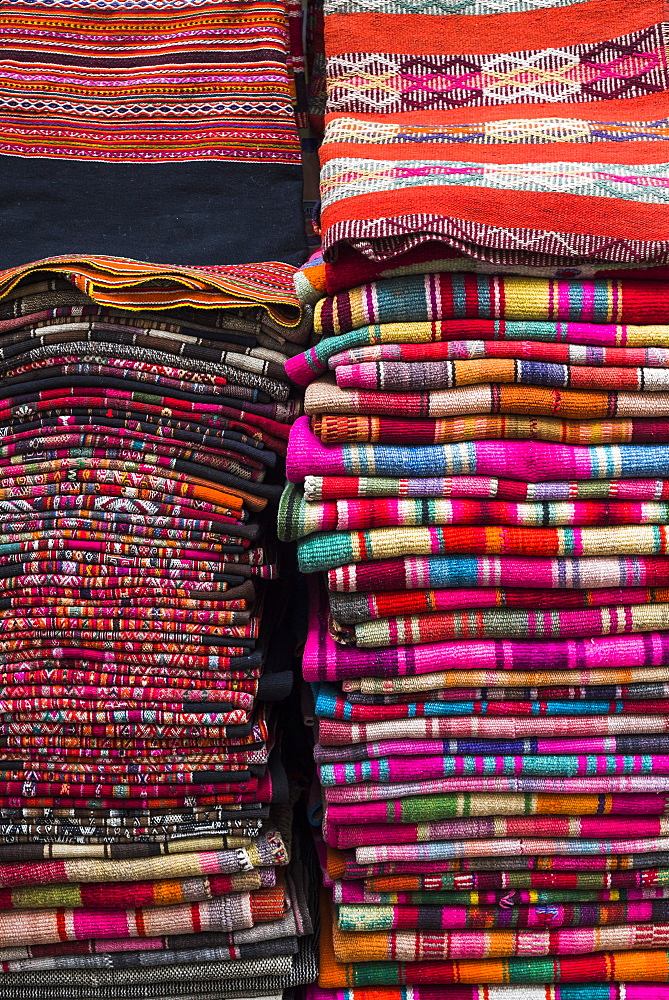 Weavings for sale at a street market in La Paz, La Paz Department, Bolivia, South America
