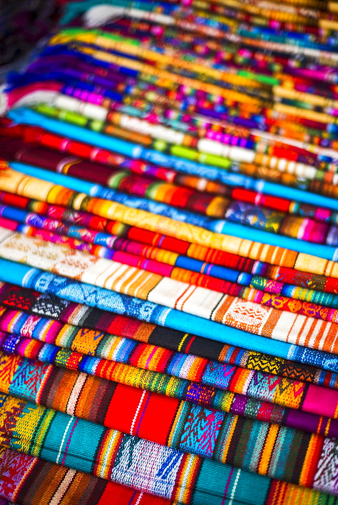 Scarves for sale in Otavalo Market, Imbabura Province, Ecuador, South America