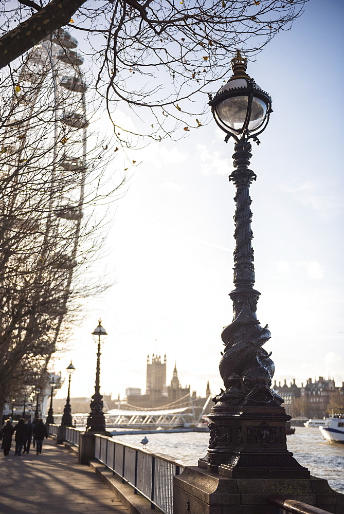 Dolphin lamp post, South Bank, London, England, United Kingdom, Europe