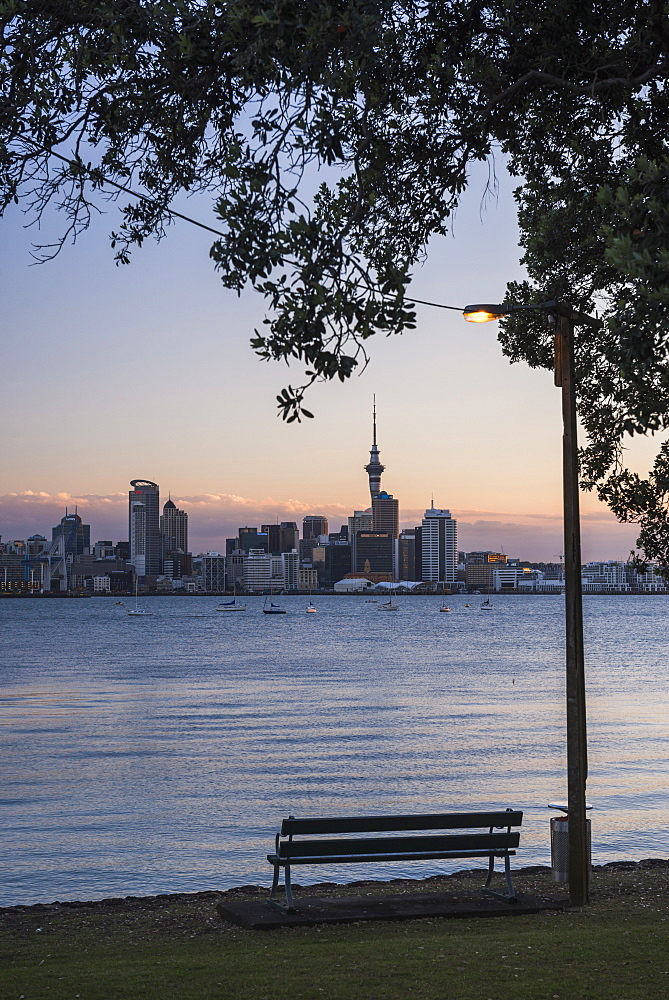 Auckland skyline at night seen from Bayswater, Auckland, North Island, New Zealand, Pacific