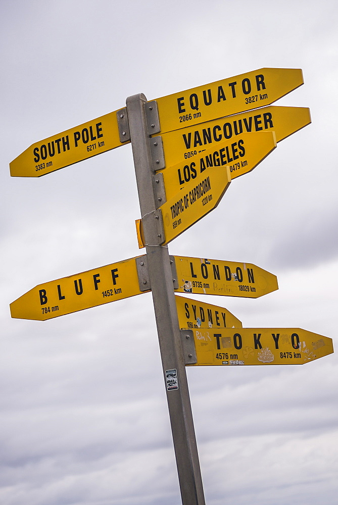 City distances sign at Cape Reinga Lighthouse, Northland, North Island, New Zealand, Pacific