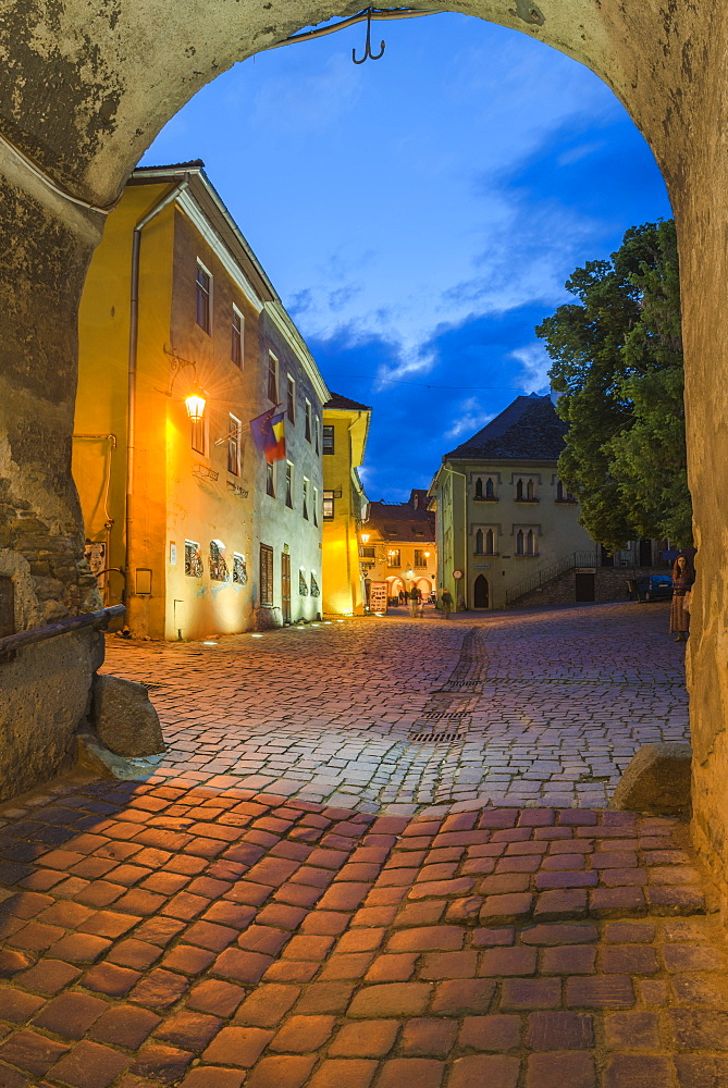 Sighisoara at night in the historic centre of the 12th century Saxon town, Sighisoara, UNESCO World Heritage Site, Transylvania, Romania, Europe - 1109-2943