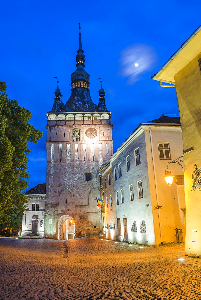 Sighisoara Clock Tower at night in the historic centre of Sighisoara, a 12th century Saxon town, UNESCO World Heritage Site, Transylvania, Romania, Europe