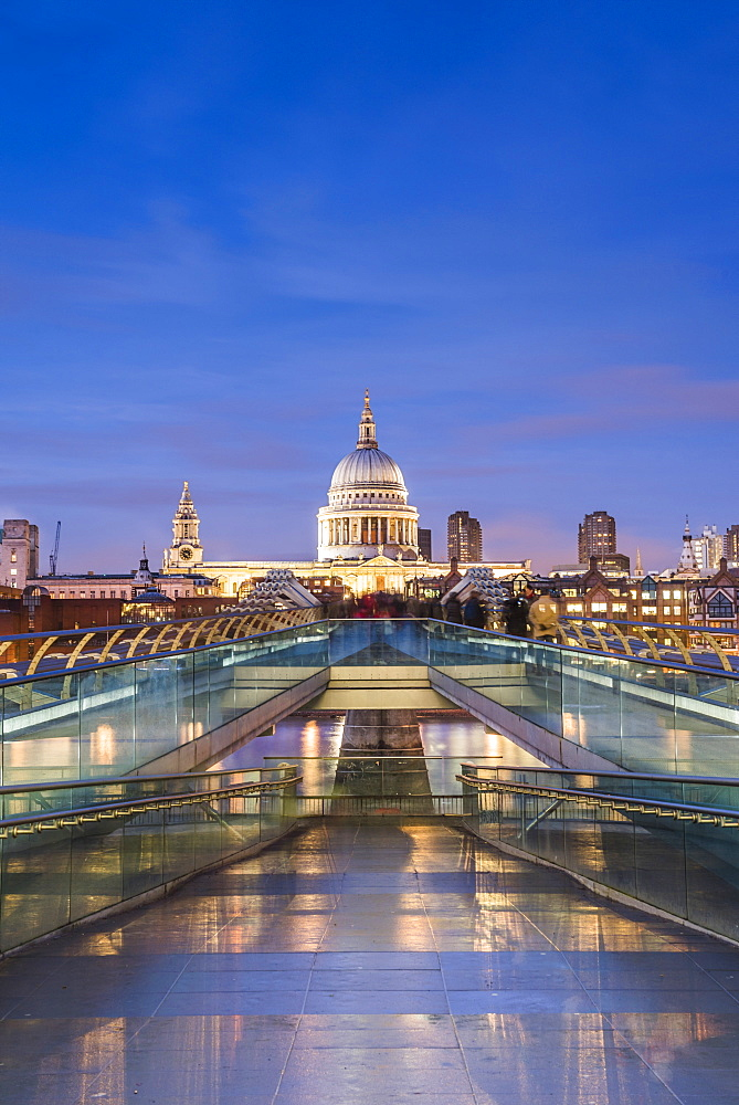 St. Pauls Cathedral at night, seen across Millennium Bridge, City of London, London, England, United Kingdom, Europe - 1109-3062