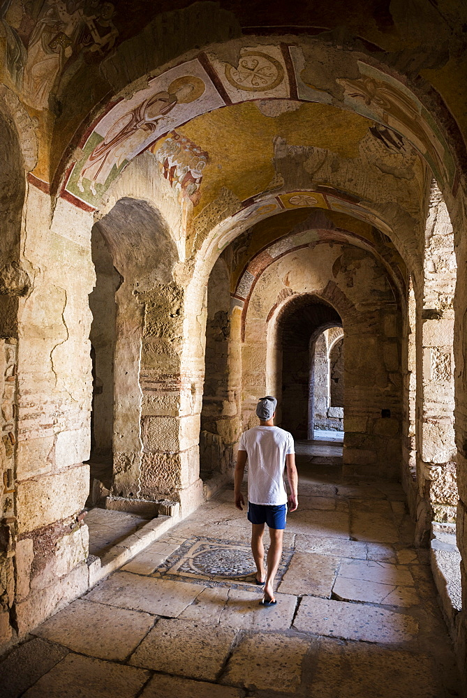 Tourist at ancient ruins of St. Nicholas Church, Antalya Province, Lycia, Anatolia, Turkey, Asia Minor, Eurasia