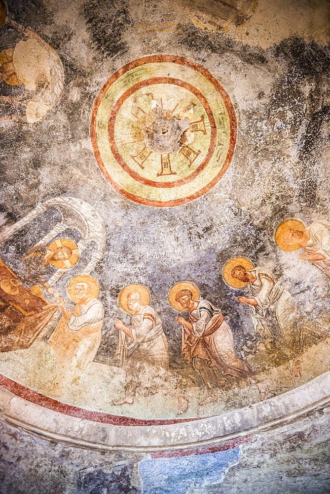 Fresco at ruins of St. Nicholas Church, Myra, Demre, Antalya Province, Lycia, Anatolia, Mediterranean Coast, Turkey, Asia Minor, Eurasia - 1109-3422