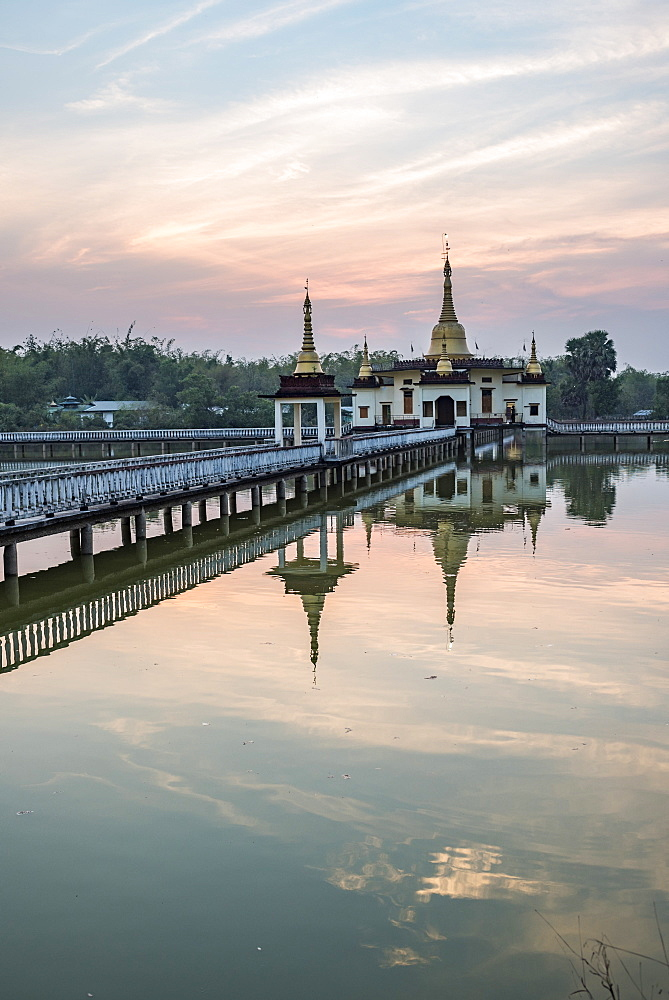 'Snake Temple' (Mwe Paya) at sunset, Dalah, accross the river from Yangon, Myanmar (Burma) - 1109-3705