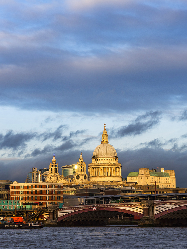 St Pauls Cathedral at sunset, City of London, London, England