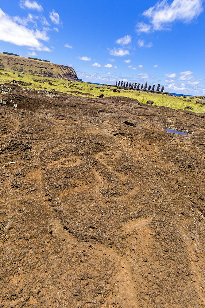 Petroglyphs carved in the lava at the 15 moai restored ceremonial site of Ahu Tongariki on Easter Island (Isla de Pascua) (Rapa Nui), UNESCO World Heritage Site, Chile, South America