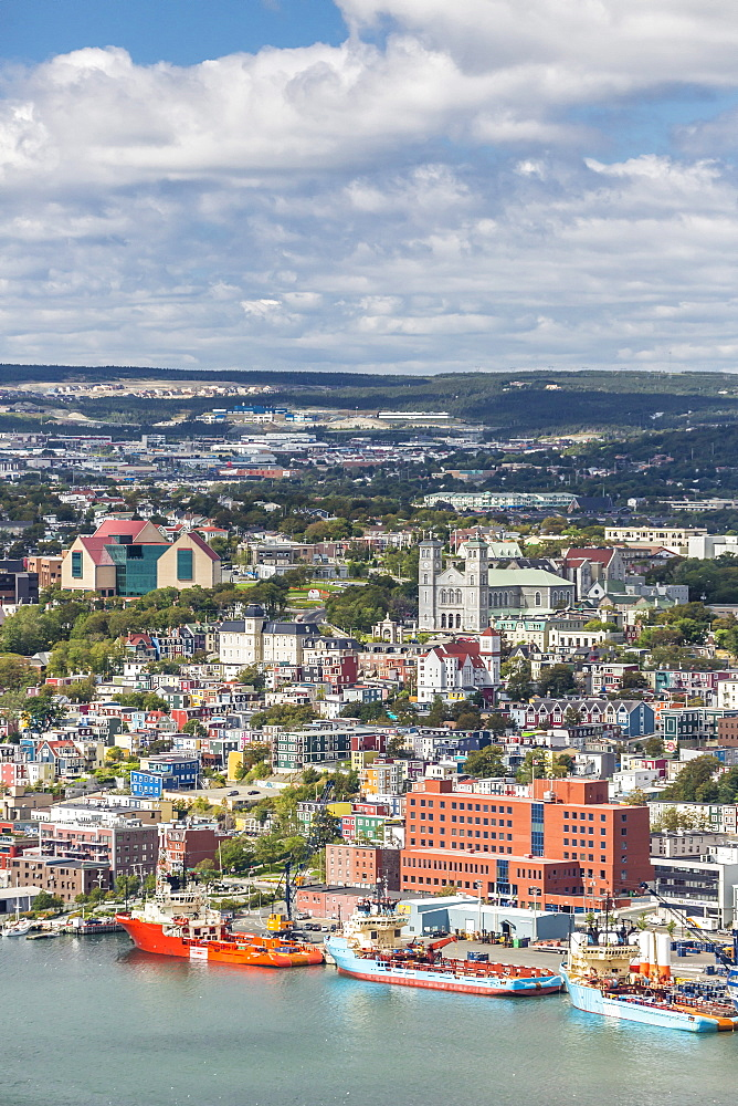 St. Johns Harbour and downtown area, St. John's, Newfoundland, Canada, North America