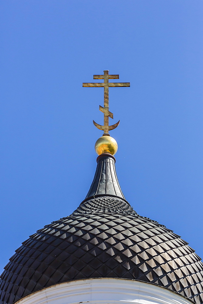 Orthodox church domed spires in the capital city of Tallinn, Estonia, Europe