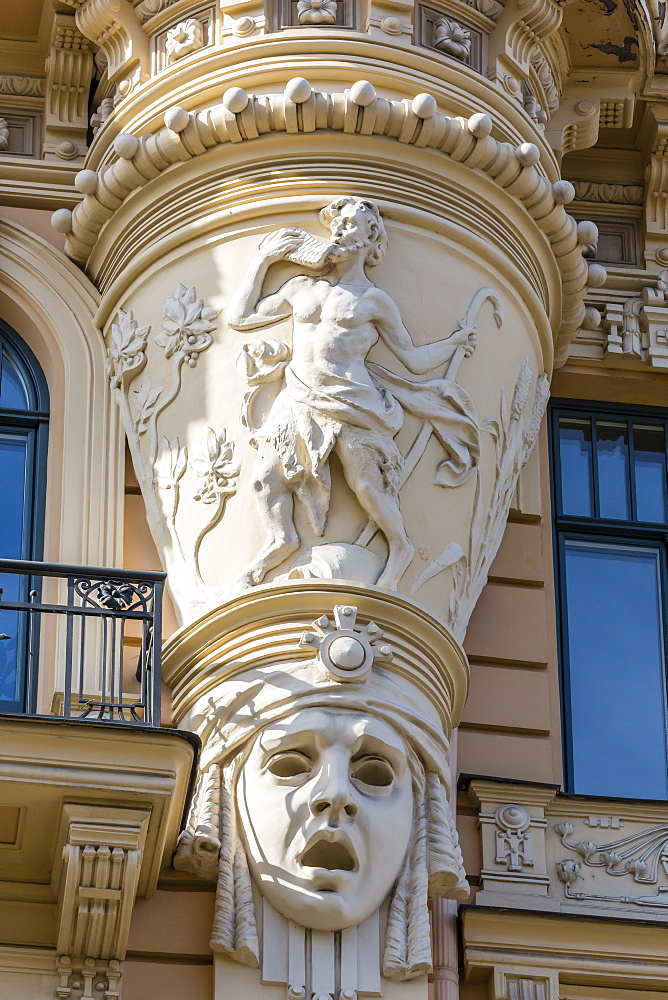 Art Nouveau style architecture locally known as Jugendstil, Riga, Latvia, Europe