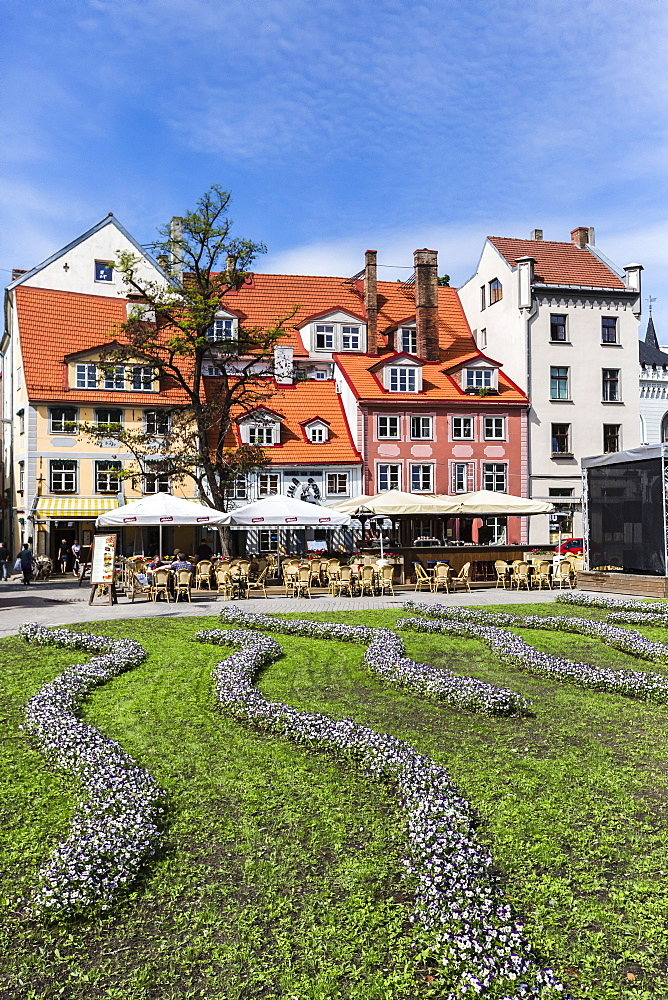 Beautiful gardens in downtown home, Riga, Latvia, Europe