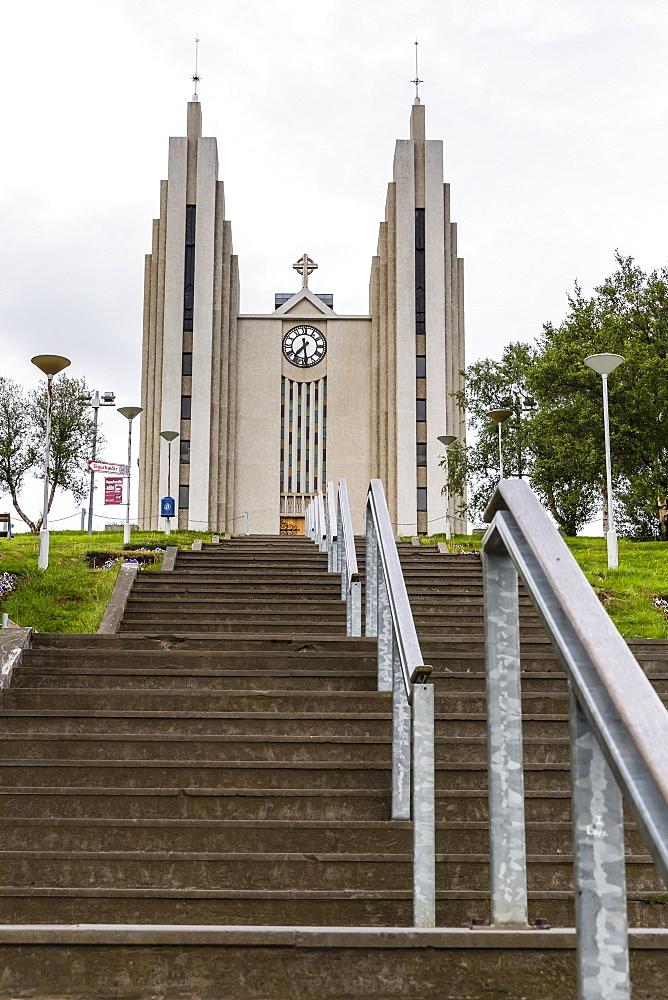 External view of the Lutheran Church of Akureyri, Akureyrarkirkja, Iceland, Polar Regions