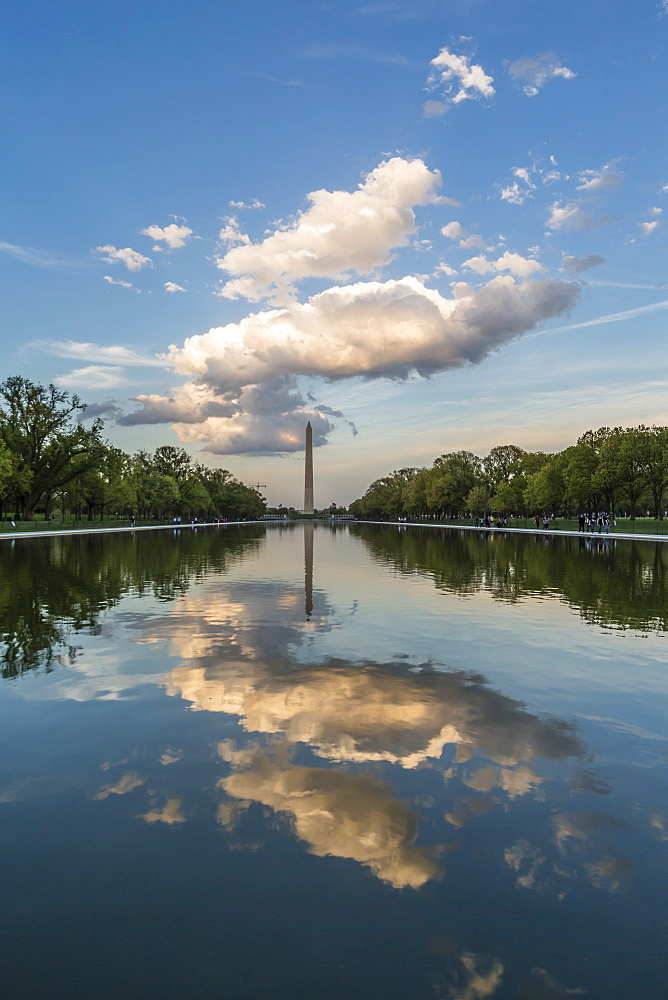 The Washington Monument with reflection as seen from the Lincoln Memorial, Washington D.C., United States of America, North America
