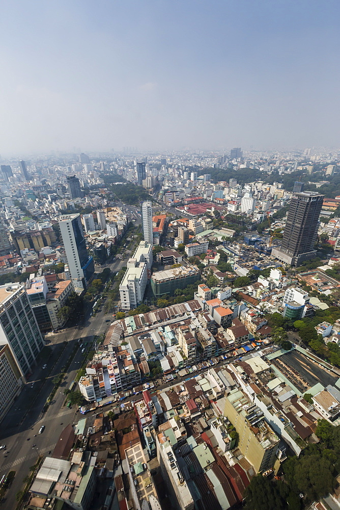 Aerial view of the city of Ho Chi Minh City (Saigon), from the Bitexco Financial Tower, Vietnam, Indochina, Southeast Asia, Asia