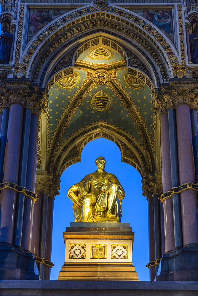 The Albert Memorial in Kensington Gardens at sundown, London, England, United Kingdom, Europe