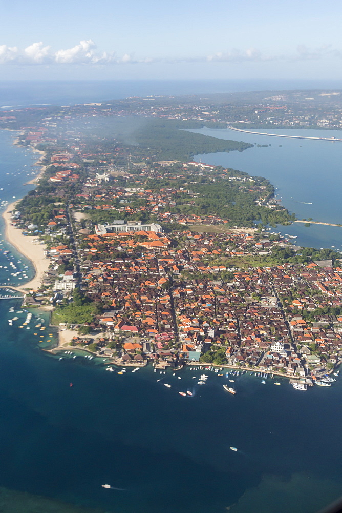 Aerial view of the island of Bali from a commercial flight, Flores Sea, Indonesia, Southeast Asia, Asia