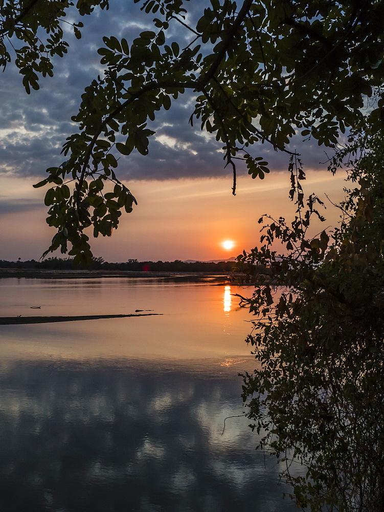 Sunset on the Luangwa River in South Luangwa National Park, Zambia, Africa