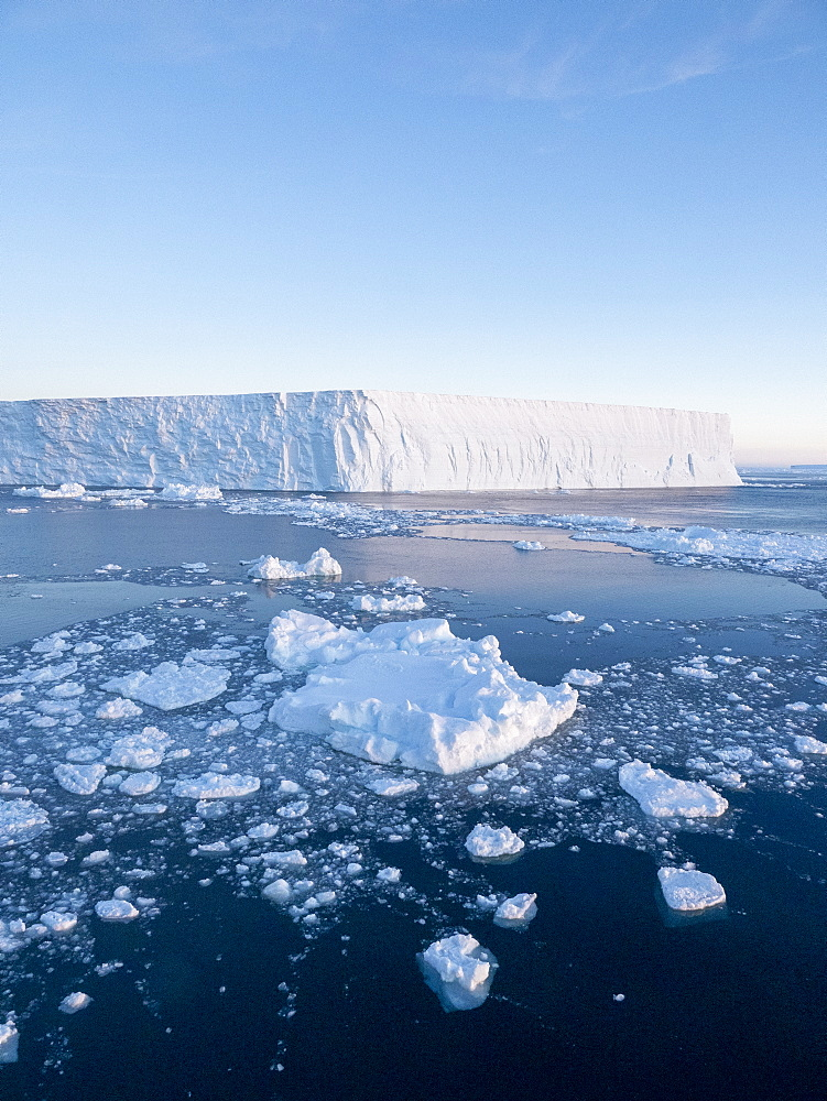Sea ice, tabular icebergs, and brash ice in Erebus and Terror Gulf, Weddell Sea, Antarctica, Polar Regions