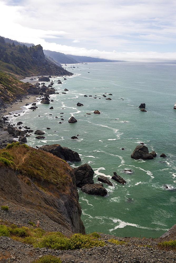 The rugged coastline along Highway 101 near Klamath, California, USA.
