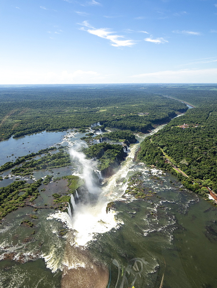 Aerial view by helicopter of Iguazv? Falls, Cataratas do Iguav?u, Paranv?, Brazil. - 1112-5109
