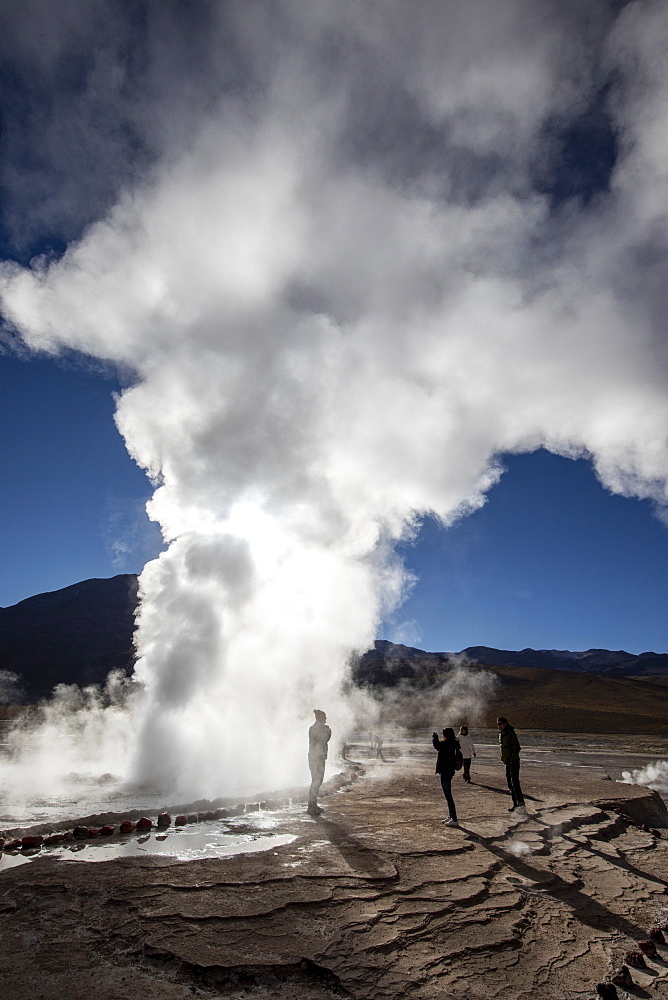 Tourists at the Geysers del Tatio (El Tatio), the third largest geyser field in the world, Andean Central Volcanic Zone, Antofagasta Region, Chile, South America - 1112-5279