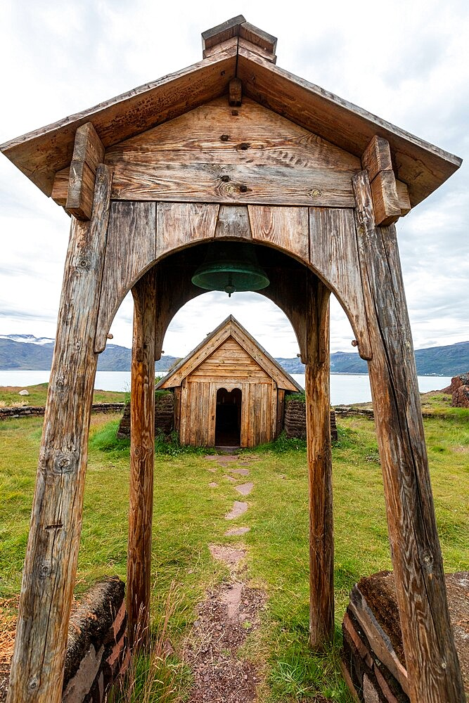 Norse chapel at the reconstruction of Erik the Red's Norse settlement at Brattahlid, southwestern Greenland, Polar Regions - 1112-5890