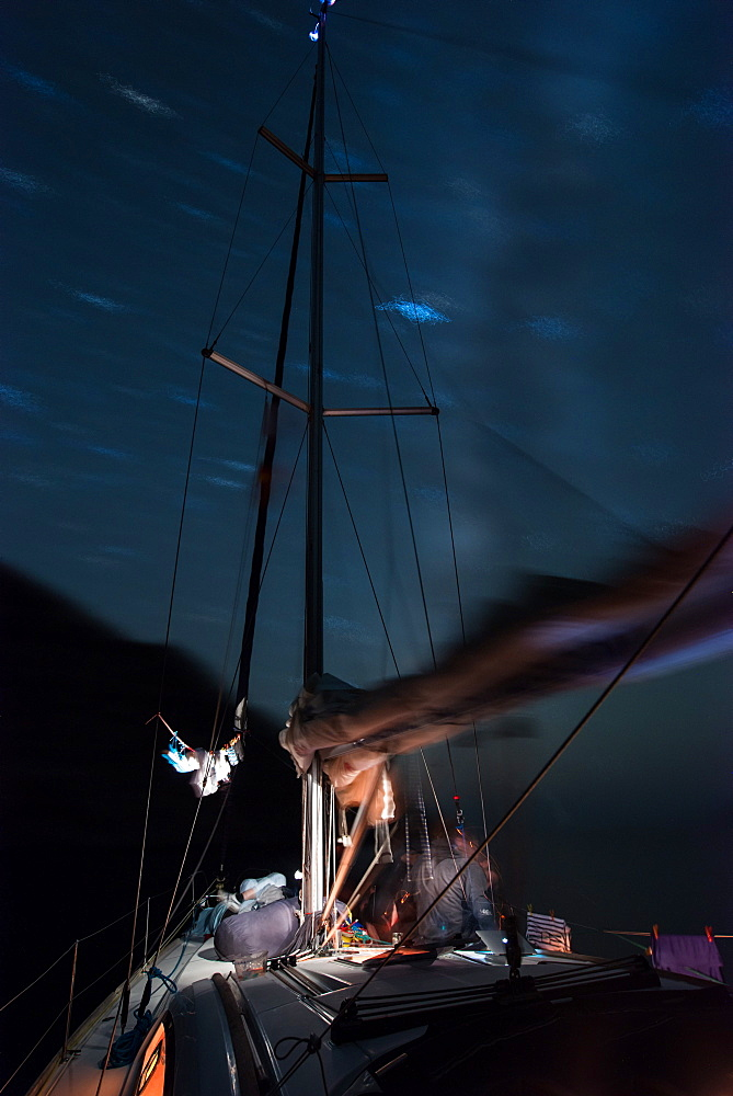 Starry sky above anchoring sailing yacht in a lonely bay on the Greek island Syphnos (Sifnos), Aegean, Cyclades, Greece - 1113-104920